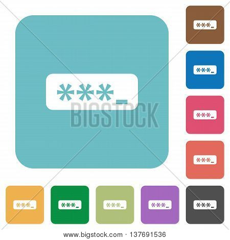 Flat password typing icons on rounded square color backgrounds.