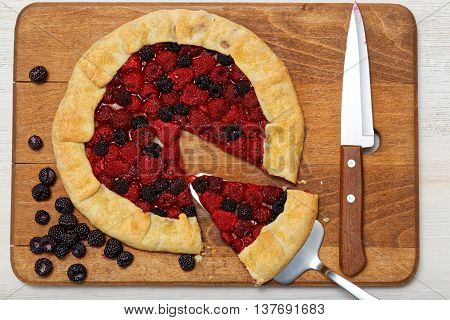 Homemade Galette With Red And Black Raspberries