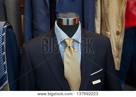 Close up of male suit in the clothes shop