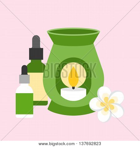 oil burner with flower and bottle of essential oil, flat design