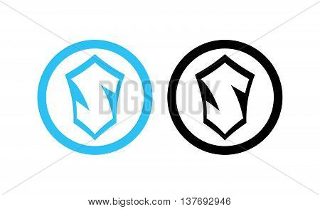 Vector Emblem of Scandinavia, Round Icon with Letter 'S' isolated on white.