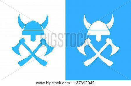 Sign of Viking's Equipment. Crossed Axes and Helm isolated on white and blue background. Vector Illustration.