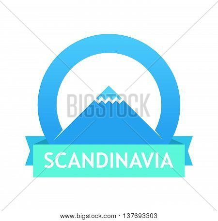 Badge with Scandinavian landscape. Illustration of Tour to Northern europe. Emblems with mountains with caption, Vector Illustrations.