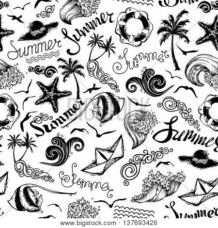 Black And White Seamless Summer Pattern.