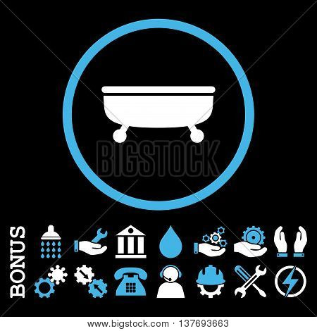 Bathtub vector bicolor icon. Image style is a flat pictogram symbol inside a circle, blue and white colors, black background. Bonus images are included.