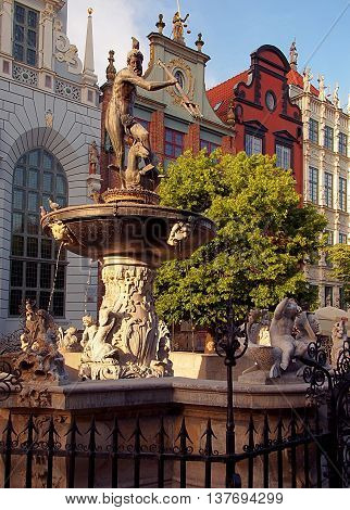 Gdansk, Poland - June 04, 2016 Historic fountain with the figure of Neptune Long Market Street in a representative part of Gdansk.