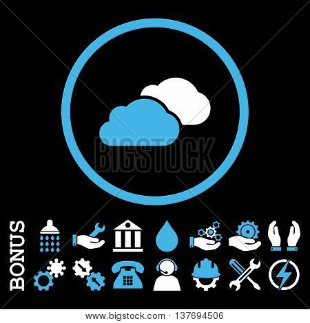 Clouds vector bicolor icon. Image style is a flat pictogram symbol inside a circle, blue and white colors, black background. Bonus images are included.