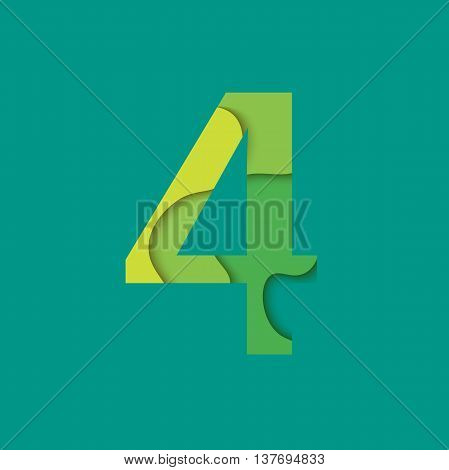 Number four design template element. Figure 4 vector logo, icon and sign in material design style.