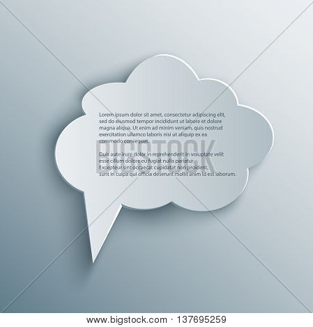 Paper Cutout cloud speech bubble with shade in 3d and origami style. Vector illustration.