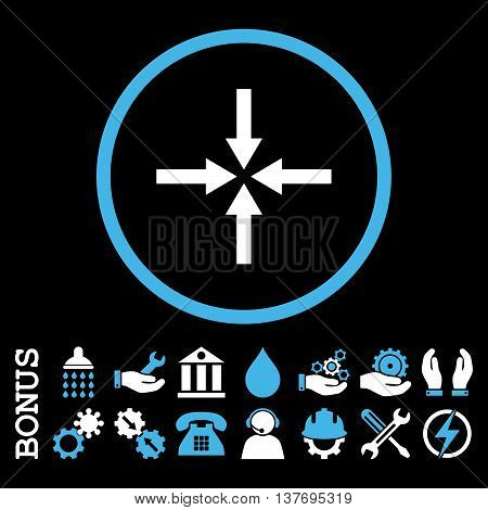 Impact Arrows vector bicolor icon. Image style is a flat pictogram symbol inside a circle, blue and white colors, black background. Bonus images are included.