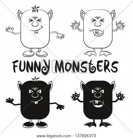Set of Funny Black Contour and Silhouette Cartoon Characters, Different Angry Monsters Waving their Paws, Elements for your Design, Prints and Banners, Isolated on White Background. Vector