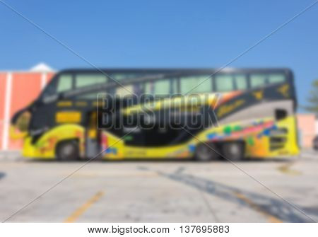 Blur blurred Bus tour, bus modern travel in city for background
