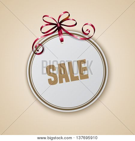 Sale tag with red ribbon on light background. Banner or poster template. Vector illustration.