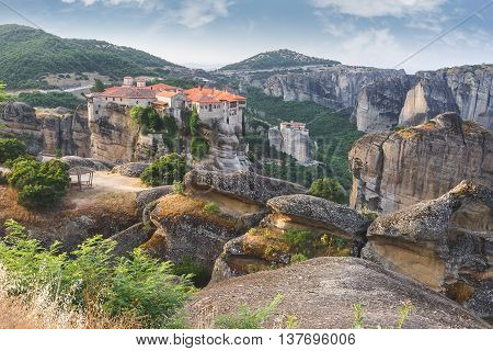 Meteora Monastery Greece. Panoramic view of Varlaam, Roussanou and Agios Stefanos Monastery, Meteora, Trikala region