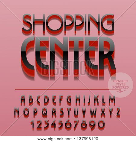 Set of slim reflective alphabet letters, numbers and punctuation symbols. Vector glossy plastic logo with text Shopping center. File contains graphic styles