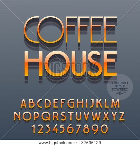 Set of slim reflective alphabet letters, numbers and punctuation symbols. Vector glossy plastic logotype with text Coffee house. File contains graphic styles