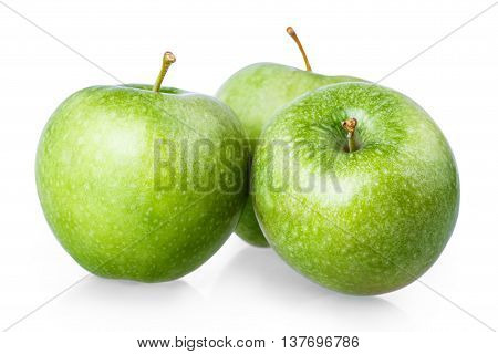 Three Green Apple Isolated On A White Background