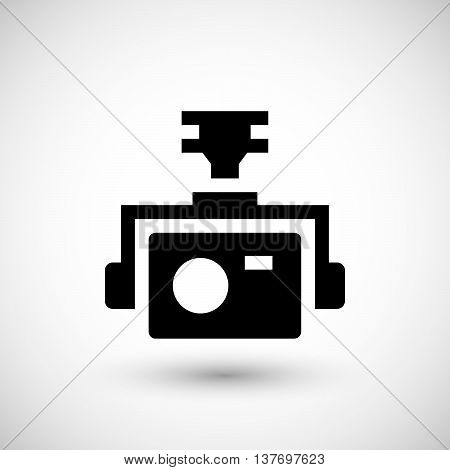 Action camera icon isolated on grey. Vector illustration