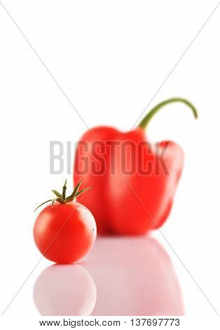 Closeup Isolated Bell Pepper And Tomato On The White Background