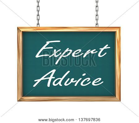 3d rendering of hanging wooden signboard banner of expert advice