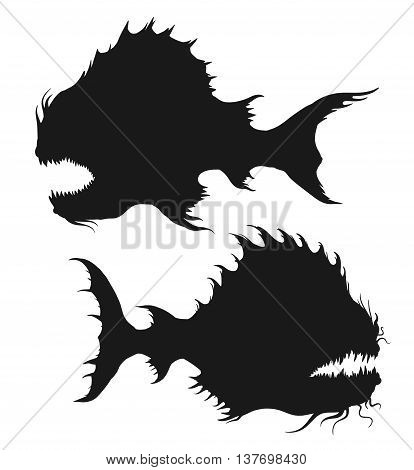 Sea monsters set. Deep-sea fishes silhouettes. Black and white freehand drawing illustration isolated on white background. Vector illustration.