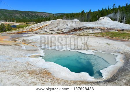 Hot Geyser Pool In Old Faithful Area