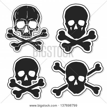 Set of Skulls and Crossbones isolated over white background. Freehand drawing human skulls. Vector illustration.