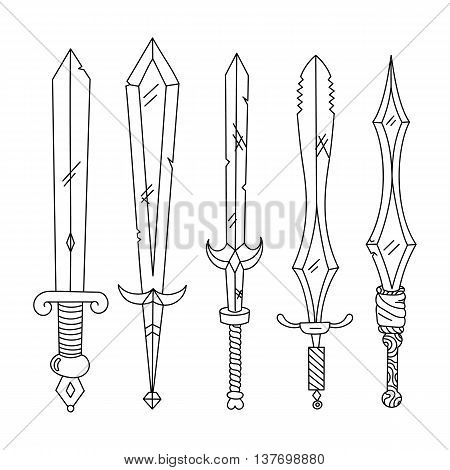 Vector hand drown set of swords. Isolated illustration. Black and white