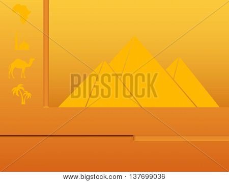 Website template for Africa. Pyramids, camels, palm trees, a mosque, a map. Vector illustration.