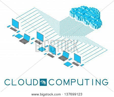 Infographics showing the cloud computing. In the square, in the middle of the title, a stylized white cluster servers.