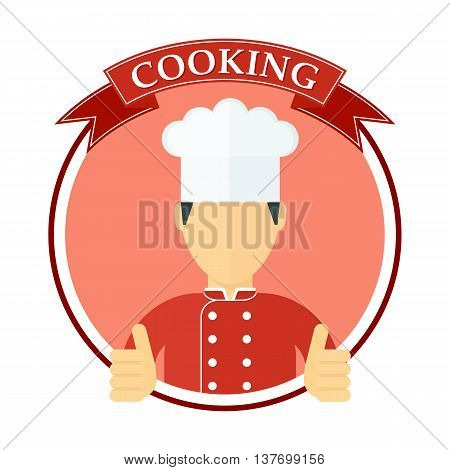 Logo with the chef in a chef hat. Template for menu card brochure presentation and advertising of restaurant and cafe. Objects isolated on white background. Flat cartoon vector illustration.