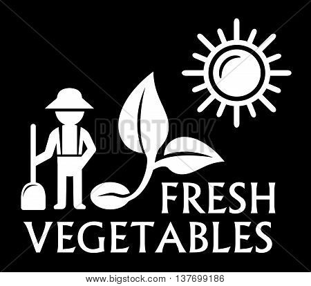 black agriculture symbol with farmer and sprout silhouette