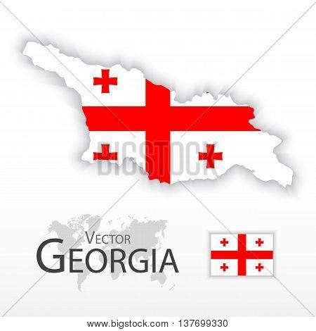 Georgia ( Republic of Georgia ) ( flag and map ) ( transportation and tourism concept )