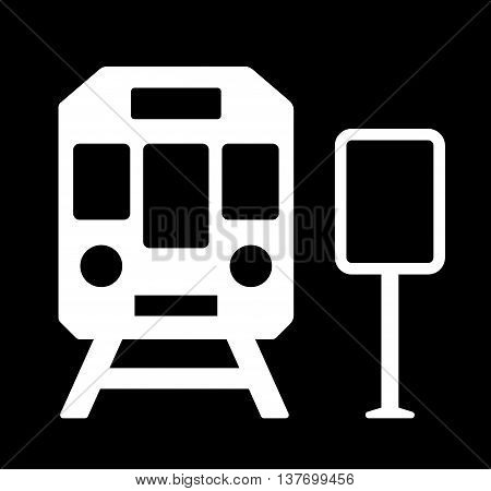 rail road station sign with train white silhouette