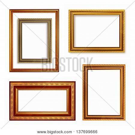 Set of dark golden vintage frame isolated on white background