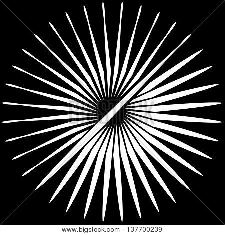 Radial, Radiating Lines. Asymmetrical Geometric Element. Circular, Bursting Lines