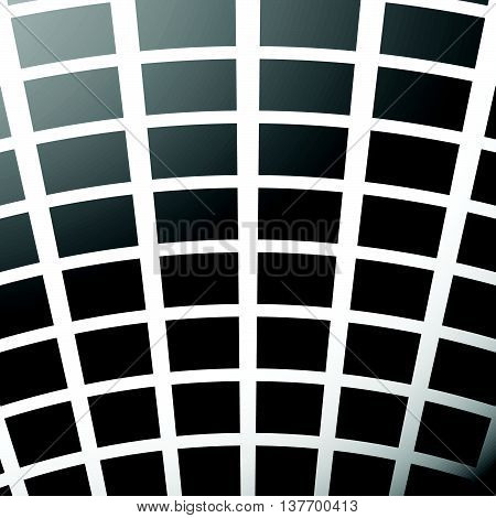 Mosaic, Grid Of Squares With Distortion Effect. Abstract Grayscale Pattern.