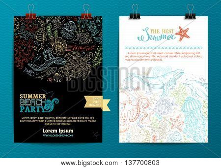 Vector Set Of Two Underwater Life Poster Templates.