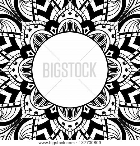 Oriental black-white frame. Background with ornament and place for text. Vector card. Vinyl cover CD DVD cover. Template for coloring book.