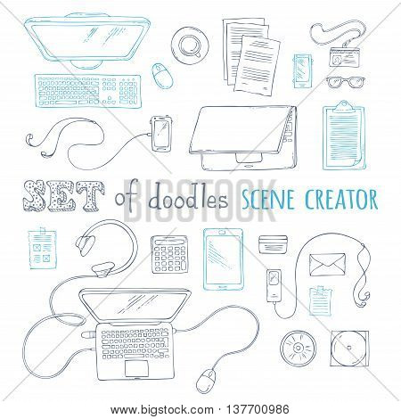 Hand-drawn doodles gadgets and office supplies. 20+ items. Top view. Design elements for work and education. Laptop computer documents mobile notes.