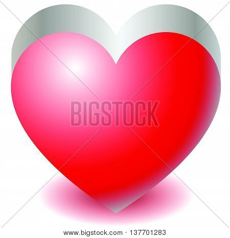 3D Red Heart Shape Illustration Love, Affection, Valentine's Day Concepts.