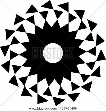 Circular Geometric Shape. Abstract Monochrome Spiral Element.