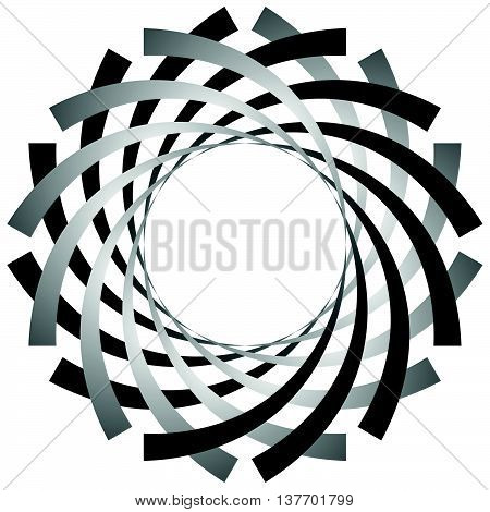 Circular, Cyclic Spiral, Vortex Element. Grayscale Rotating Shape. Abstract  Illustration Of A Swirl