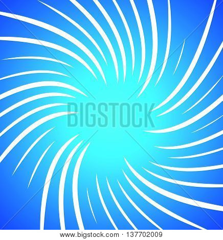 Irregular, Random Twisted White Radial, Radiating Lines Over Bright, Vivid Blue Background. Spiral,