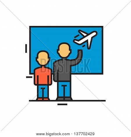 Two people seeing someone off at airport. Departure, airport terminal, airplane. Airport concept. Can be used for topics like airport, travel, transport