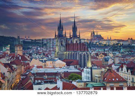 Prague. Image of Prague, capital city of Czech Republic, during dramatic sunset.