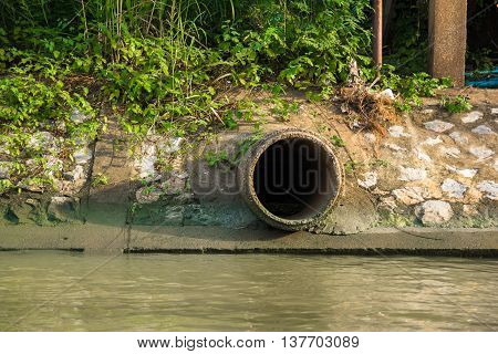 Cement sewer drain pipe and canal .