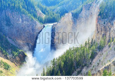 Lower Falls In The Grand Canyon Of The Yellowstone Wyoming