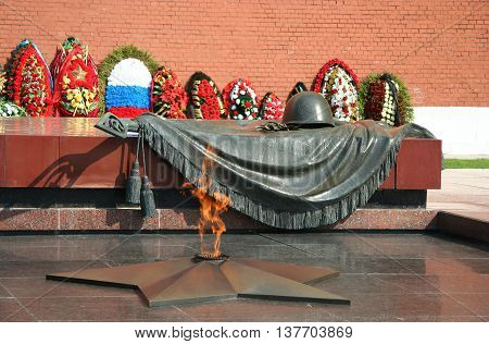 The Unknown Warrior memorial in Moscow near Kremlin