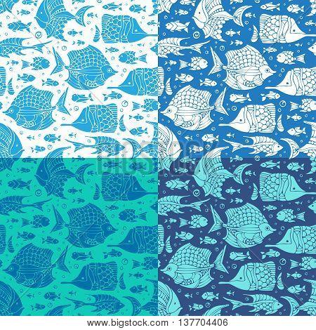 Vector Set Of Seamless Ocean Patterns.